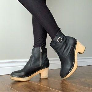 "Steve Madden Olaaf Wooden Clog 2.5"" Heeled Black Leather Boots w/ Side Zip, Sz 7"